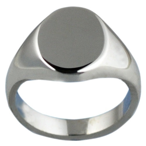 9925 Silver Plain Oval Signet Ring R152S00