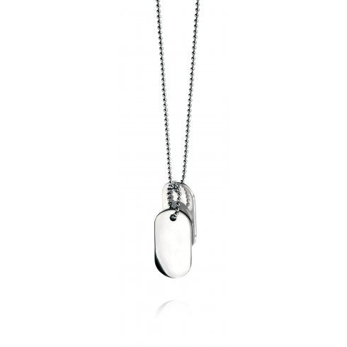 Gents Stainless Steel Oval Dog Tag 56cm Necklace  N2686