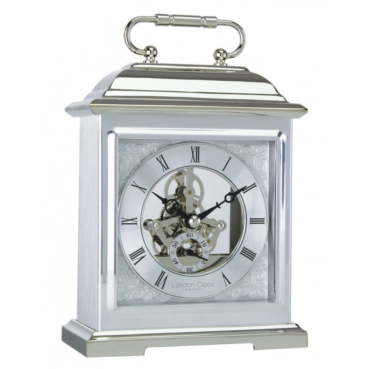 LONDON CLOCK CO CHROME FINISH SKELETO MANTLE CLOCK 04107