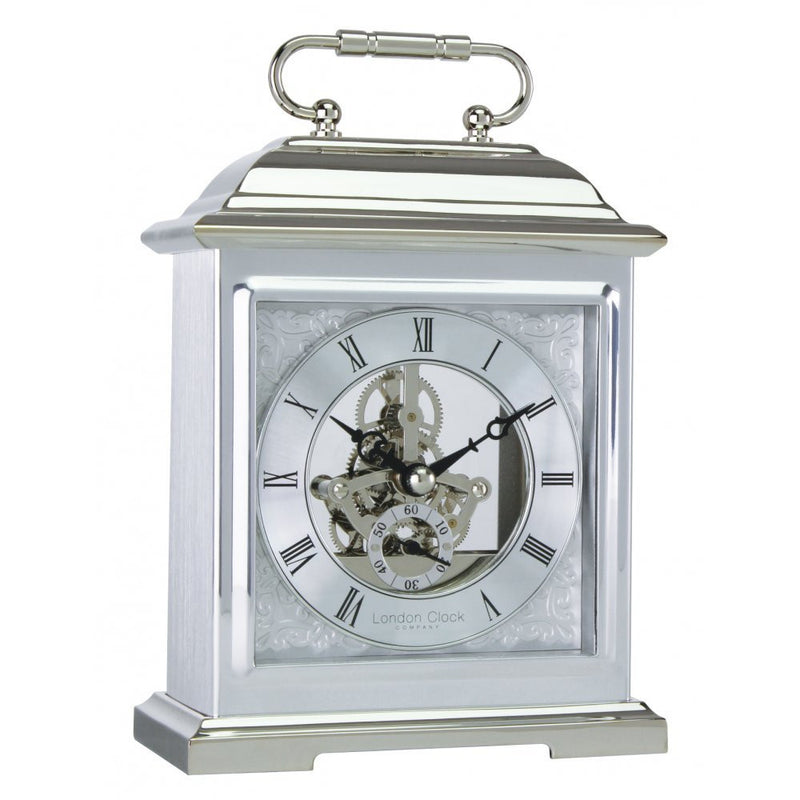 LONDON CLOCK CO CHROME FINISH SKELETO MANTLE CLOCK 04107 - Robert Openshaw Fine Jewellery