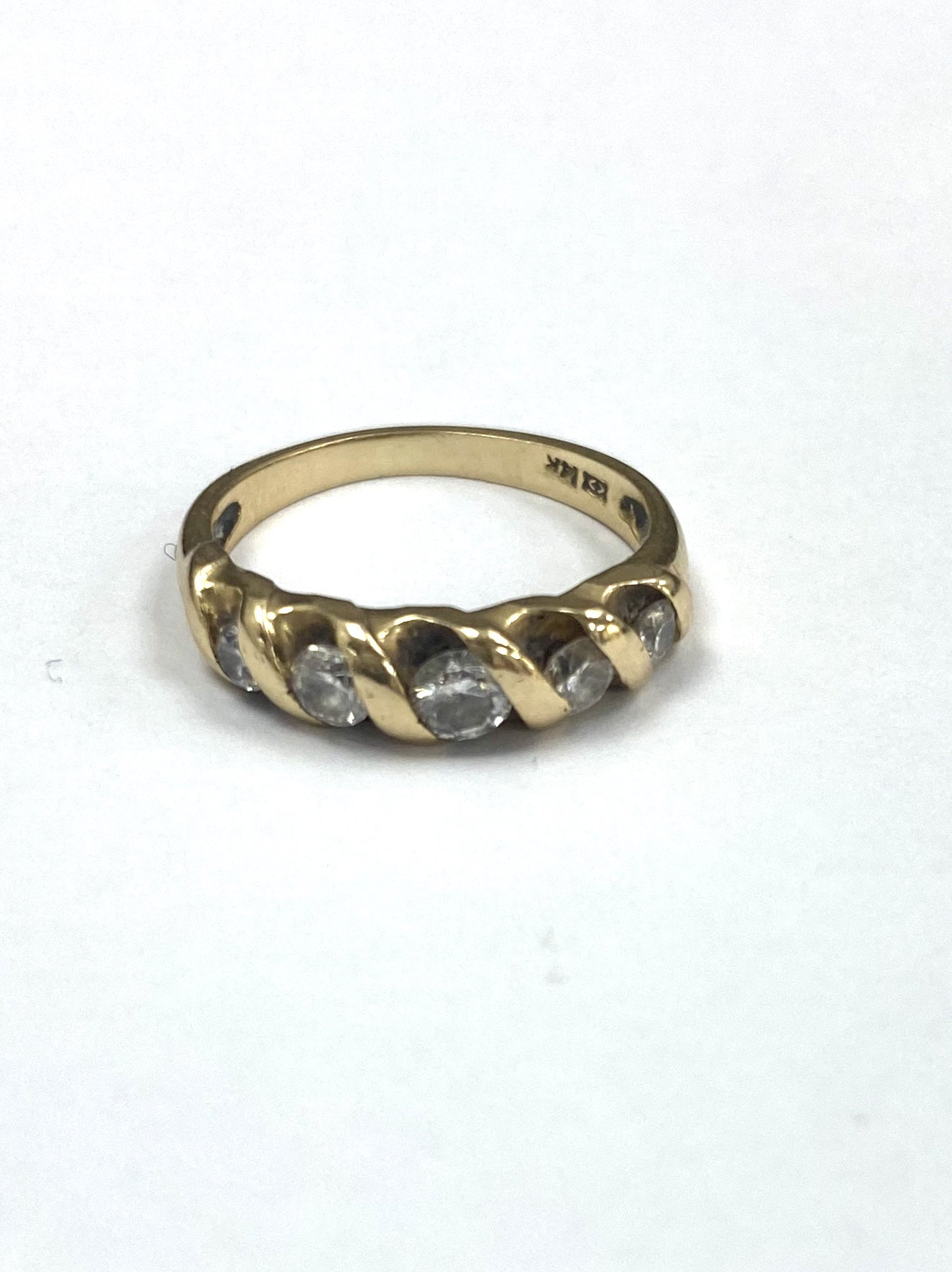 14ct Yellow Gold Five Stone 0.53cts Diamond Ring
