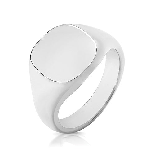Silver 925 14 x 13mm Heavy Cusion Signet Ring TS126H