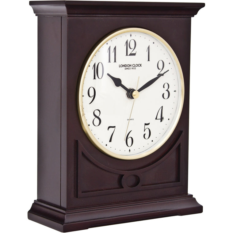 LONDON CLOCK CO DARK WOOD FLAT TOP MANTLE CLOCK 06392