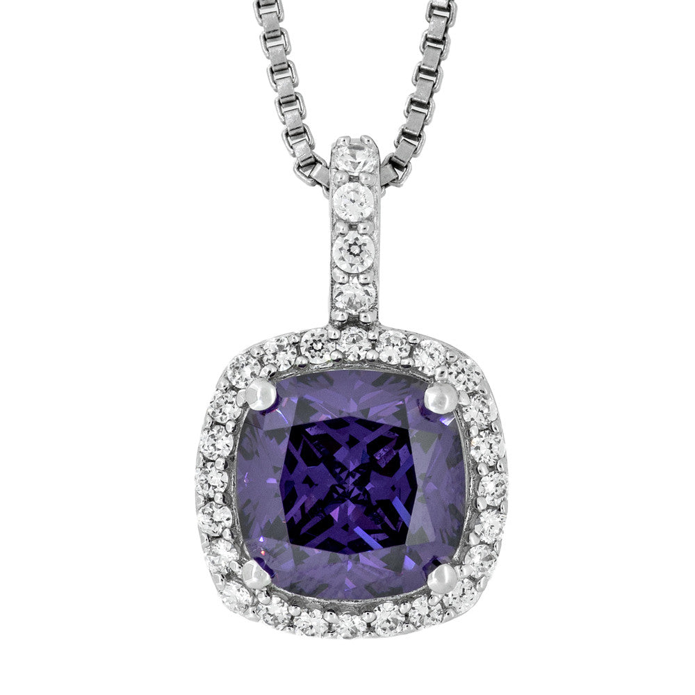 JOOLS SILVER 8MM CUSION AMETHYST CZ NECKLACE KPN3278-AM - Robert Openshaw Fine Jewellery