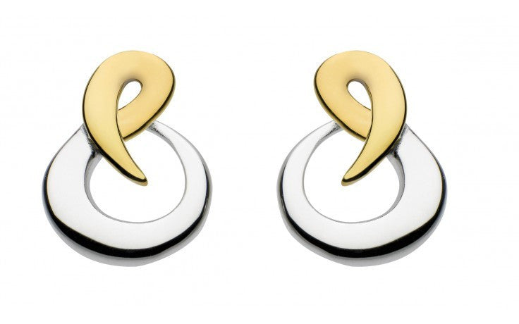 SILVER & 14CT CURVE STUDS 4051GD014