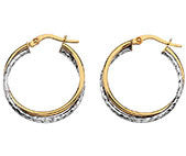 9CT TWO TONE CROSSOVER HOOP EARRINGS GWHE243 - Robert Openshaw Fine Jewellery