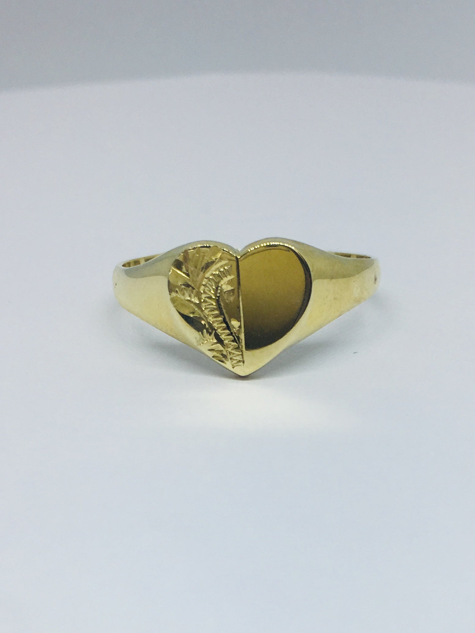 9ct Yellow Gold Half Engraved Heart Signet Ring R278