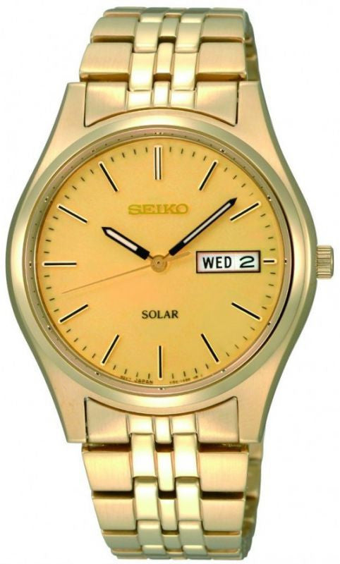 SEIKO GOLD PLATED SOLAR DAY DATE BRACELET WATCH SNE036P1