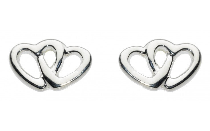 SILVER DOUBLE HEART STUDS 48359HP011