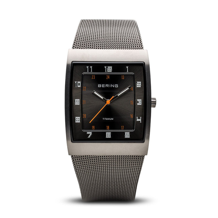 Bering Mens Classic Titanium Brushed Grey Watch 11233-077