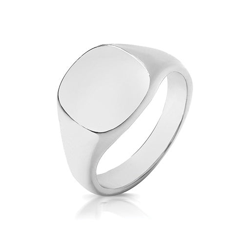 Silver 925 12 x 11mm Heavy Cusion Signet Ring TS125H
