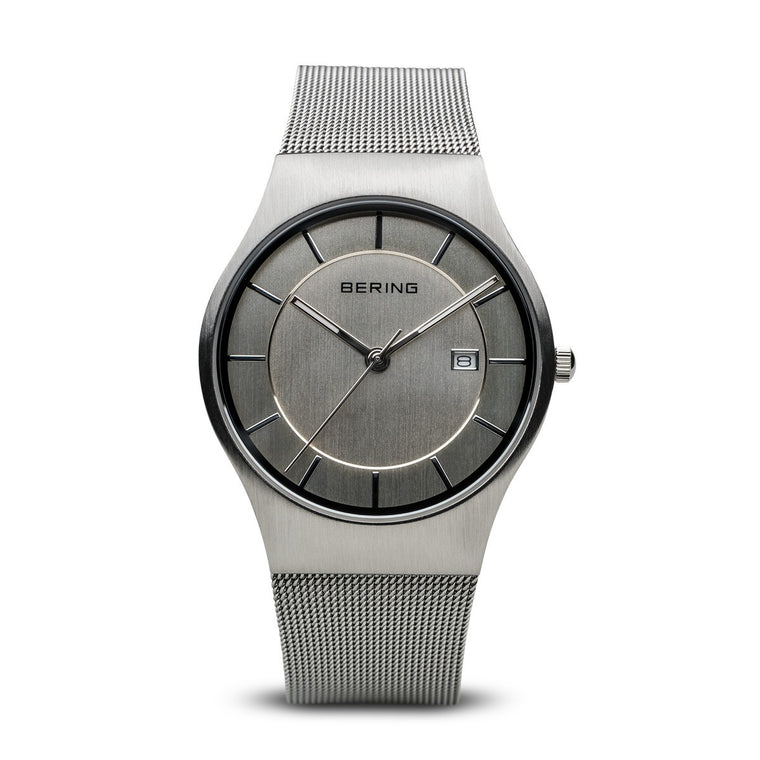 Bering Mens Classic Brushed Silver Watch 11938-000