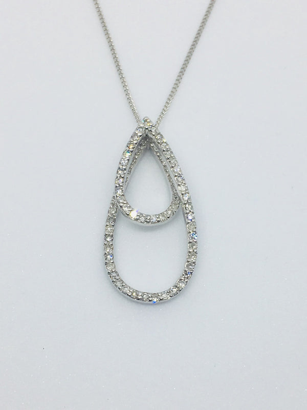9ct White Gold Diamond Necklace 0.23cts 2530001