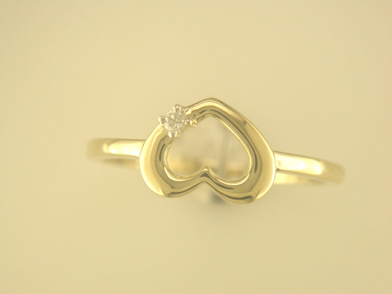 9CT YELLOW GOLD HEART RING 0.02CTS