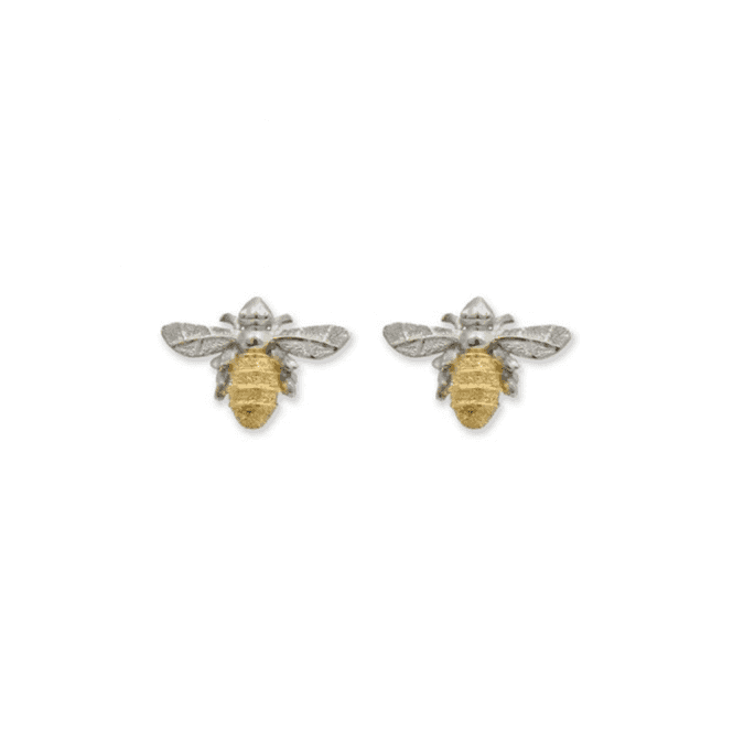 Silver and 18ct Gold Plated Mini Bumble Bee Stud Earrings