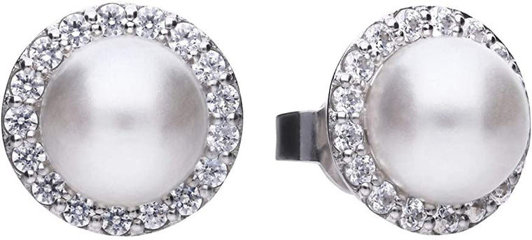 Diamonfire Shell Pearl Stud Earrings E5656