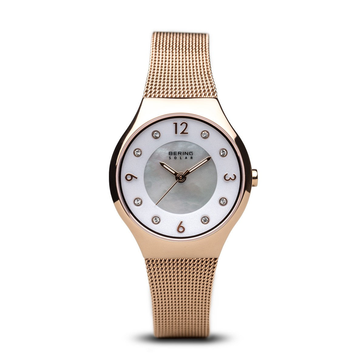 Bering Womens Polished Rose Gold Solar Watch 14427-366 - Robert Openshaw Fine Jewellery