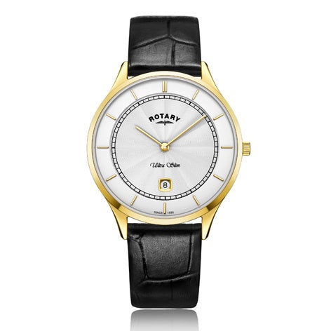 Rotary Ultra Slim Gold Stainless Steel Watch GS08303/02