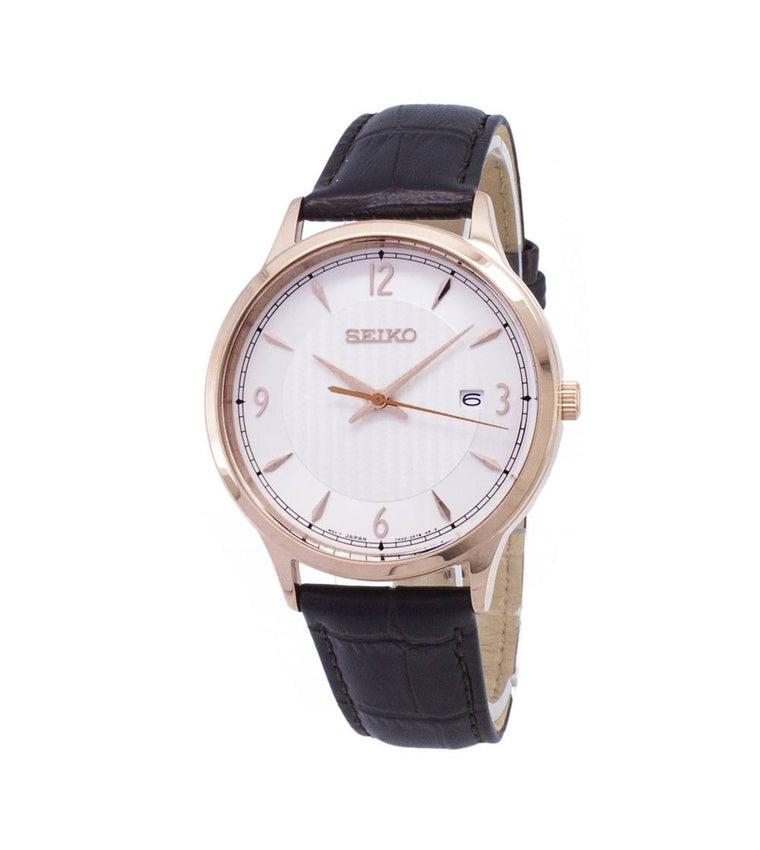 Seiko Mens Leather Strap Watch SGEH88P1