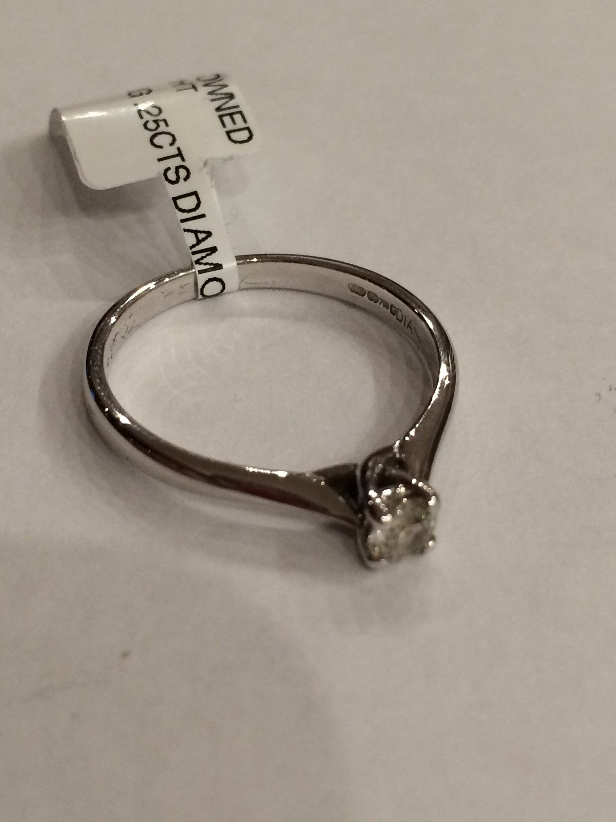 18ct WHITE GOLD 0.25CTS 4 CLAW DIAMOND RING WRIGHT - Robert Openshaw Fine Jewellery