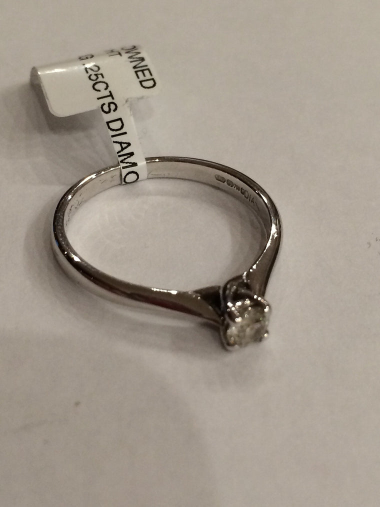 18ct WHITE GOLD 0.25CTS 4 CLAW DIAMOND RING WRIGHT