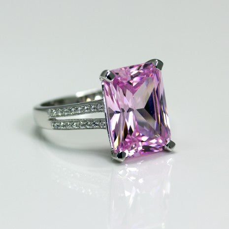Silver Pink & White CZ Ring POR002AM