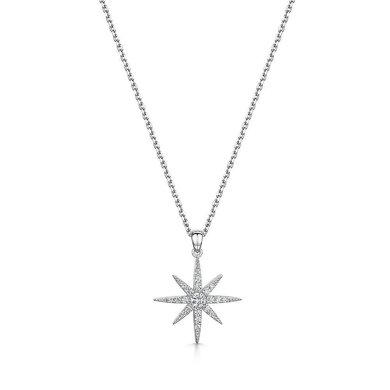 Jools Silver North Star CZ Pendant and Chain HBN3005