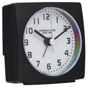 LONDON CLOCK CO BLACK ALARM CLOCK 34372 - Robert Openshaw Fine Jewellery