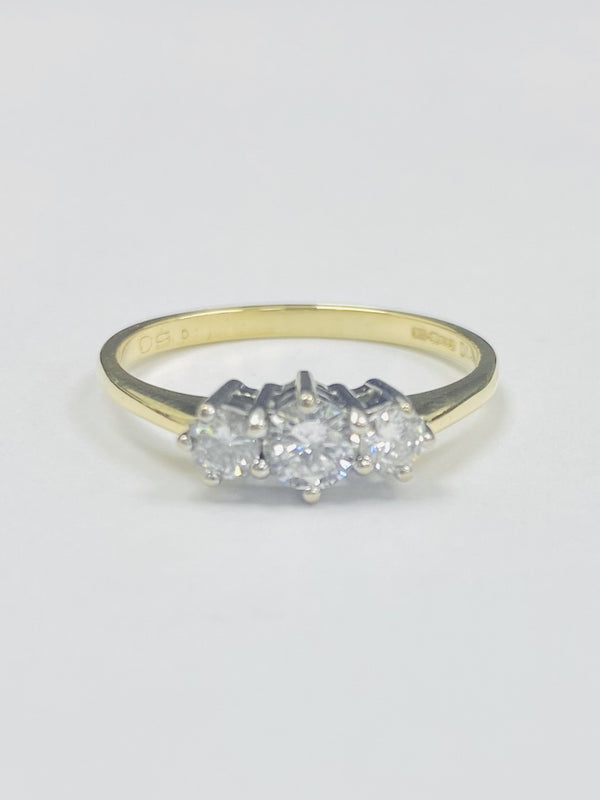 18ct Yellow Gold Trilogy 0.50cts Diamond Ring
