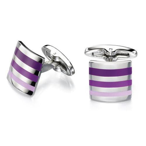 FRED BENNETT PURPLE STRIPE CUFFLINKS V484