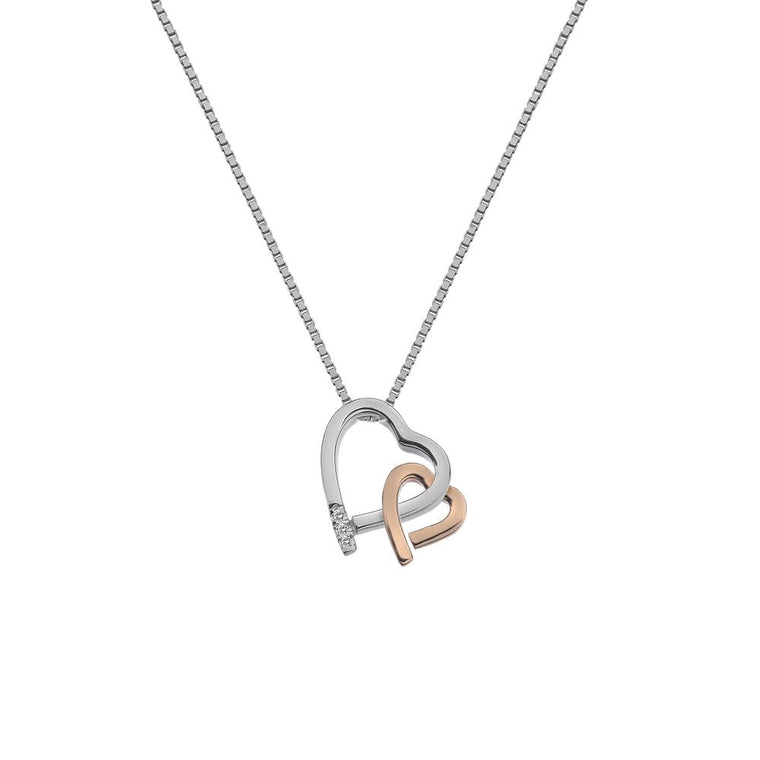 Hot Diamonds Warm Heart Pendant - Rose Gold Plated Accents DP660