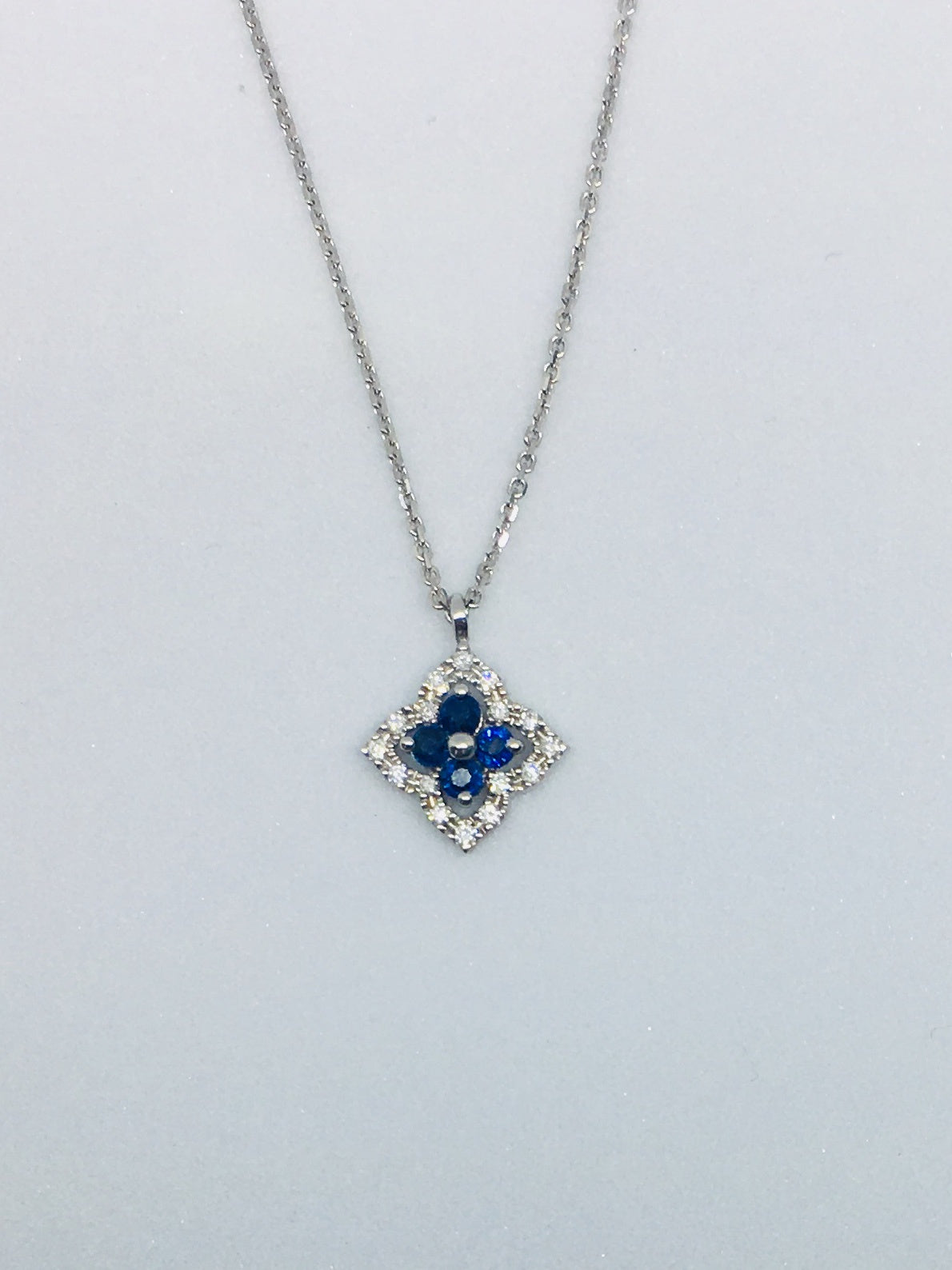 9ct White Gold 0.06ct Diamond & Sapphire Necklace 2-30147S