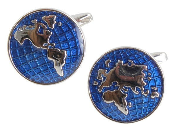 World Map Cufflinks Blue & Rhodium 901036