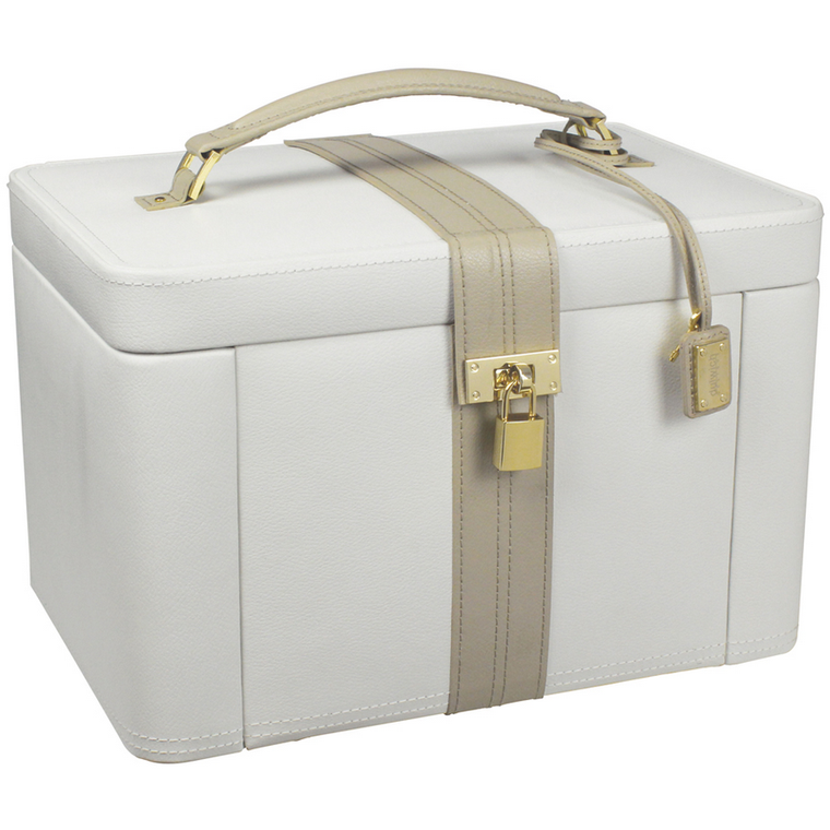 DULWICH EXTRA LARGE LIGHT CREAM AND MINK JEWELLERY BOX 71021