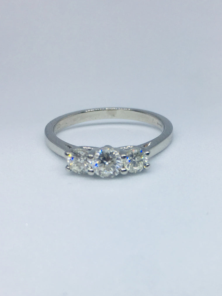 Platinum 0.55ct Three Stone Diamond Ring