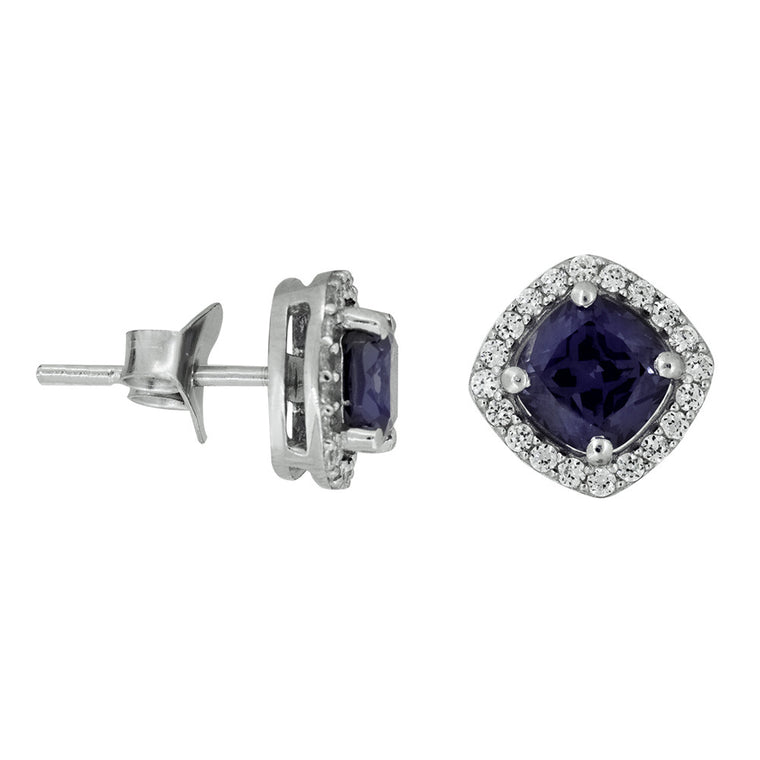 JOOLS SILVER CZ & AMETHYST STUD EARRINGS KPE2168AM