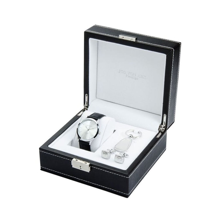 Men's Gift Set With Silver Classic Watch, Keying & Rounded Rectangular Cufflinks LX11