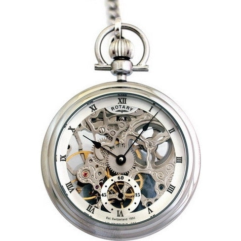 ROTARY GENTS SKELETON POCKET STEEL MP00723/21 - Robert Openshaw Fine Jewellery