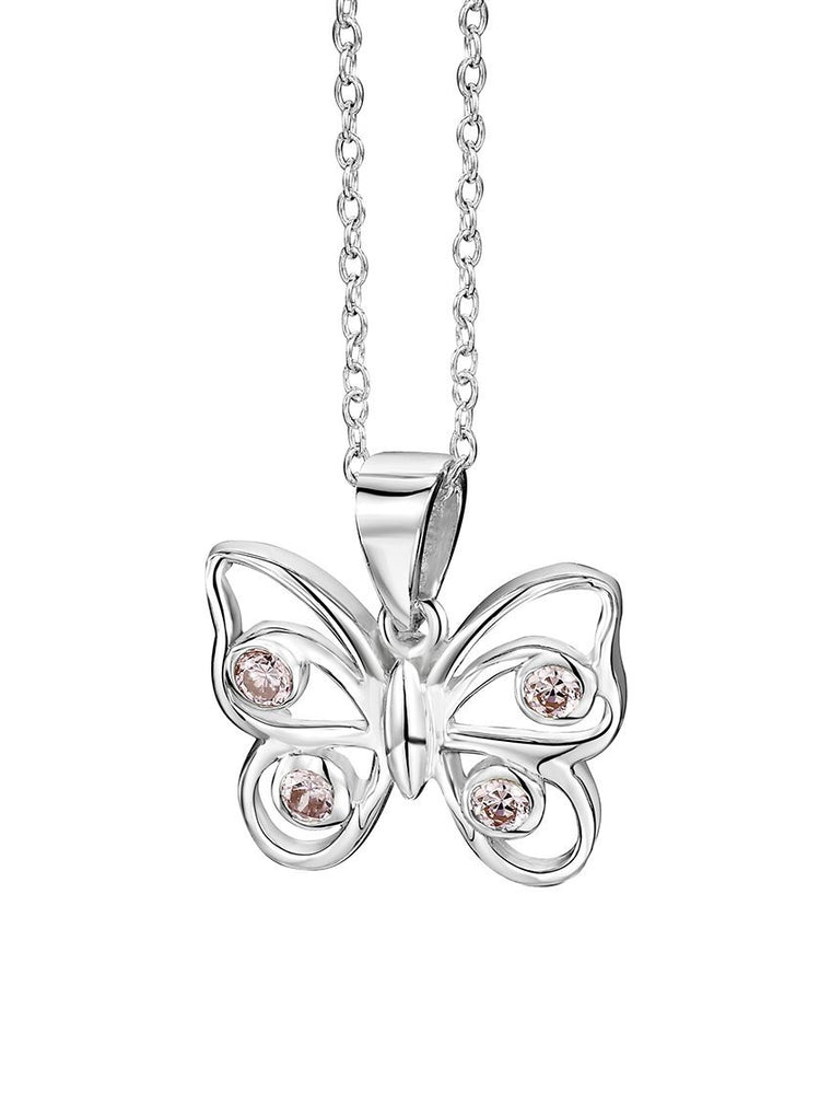 JO FOR GIRLS SILVER BUTTERFLY/PINK CZ PENDANT CP150