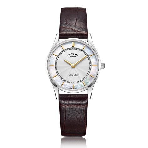 Rotary Ultra Slim White Stainless Steel Watch LS08300/02