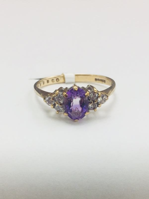 9ct YELLOW GOLD DIAMOND AND AMETHYST RING - PORTER1 - Robert Openshaw Fine Jewellery