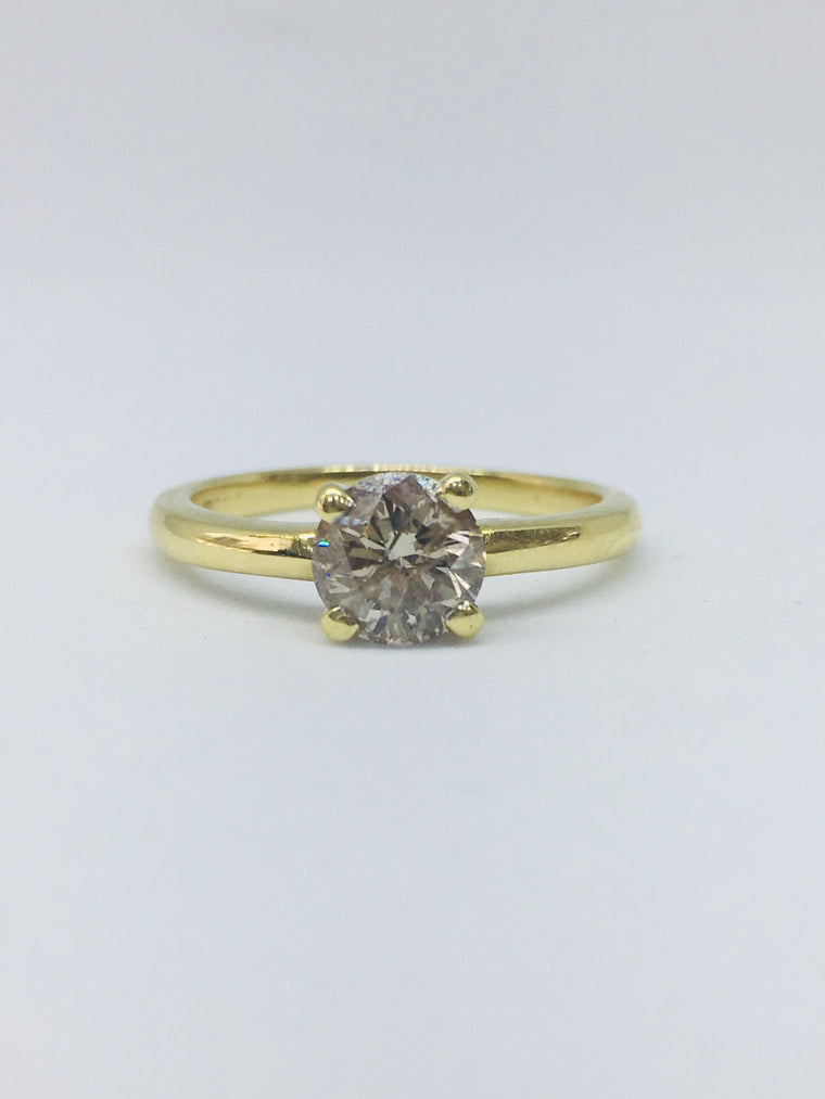 18ct Yellow Gold 1.00cts Round Brilliant Cut Diamond Ring
