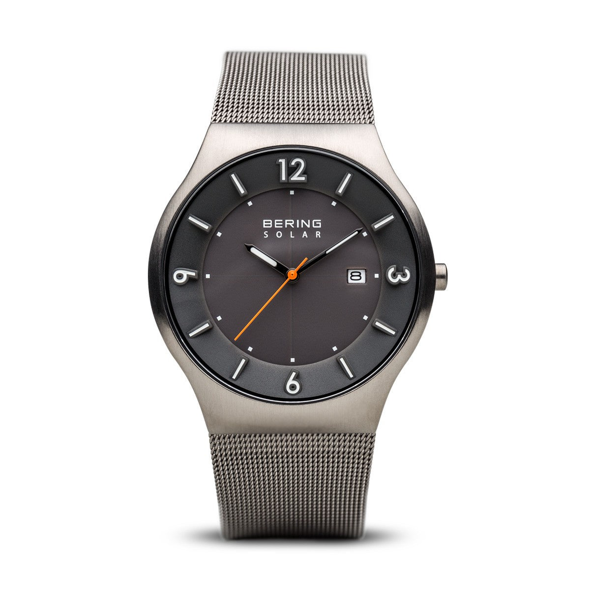 Bering Mens Classic Solar Brushed Grey Watch 14440-077 - Robert Openshaw Fine Jewellery