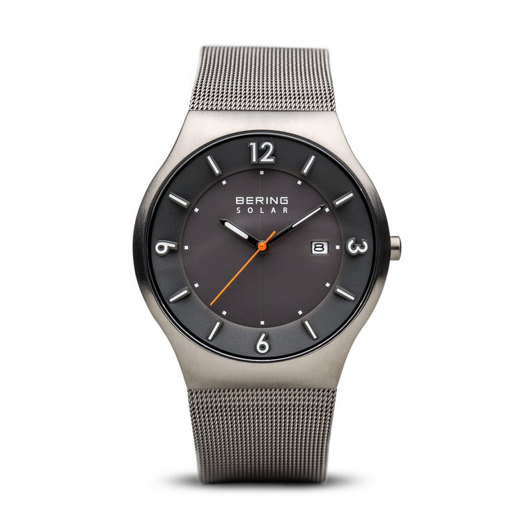 Bering Mens Classic Solar Brushed Grey Watch 14440-077