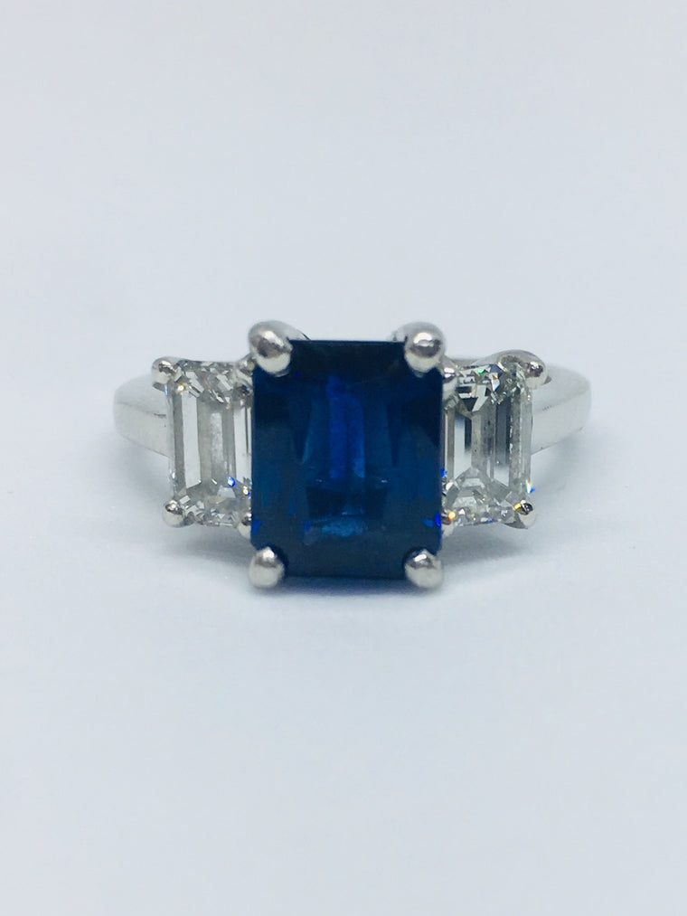 Platinum Three Stone Emerald Cut Diamond & Sapphire Ring 1.20/1.30cts