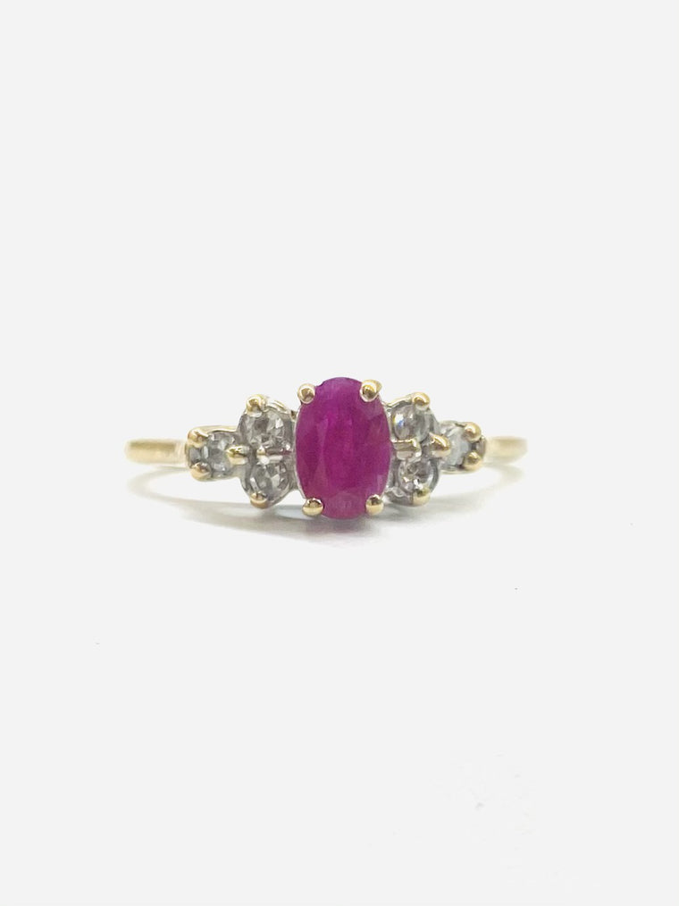 9ct Yellow Gold Ruby & Diamond Cluster Ring 21022015