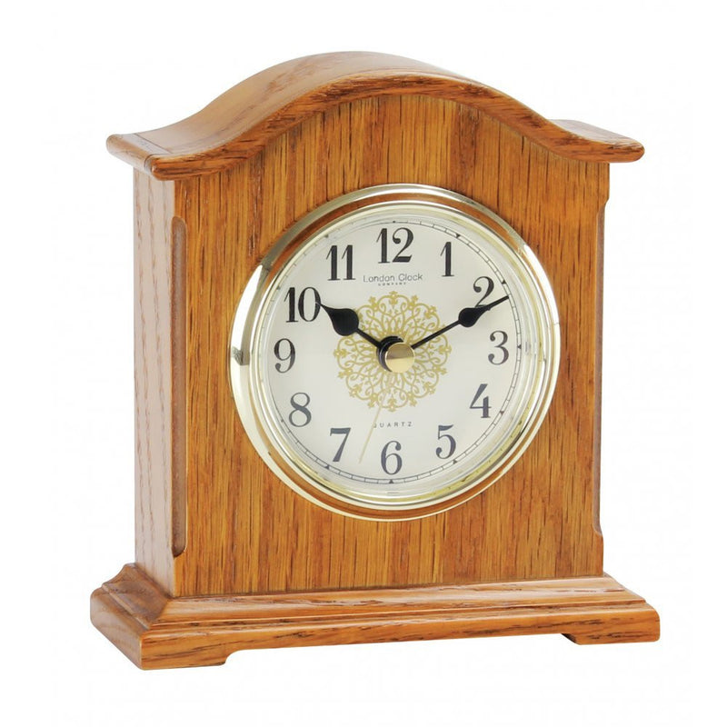 LONDON CLOCK CO OAK FINISH MANTLE CLOCK 03090 - Robert Openshaw Fine Jewellery