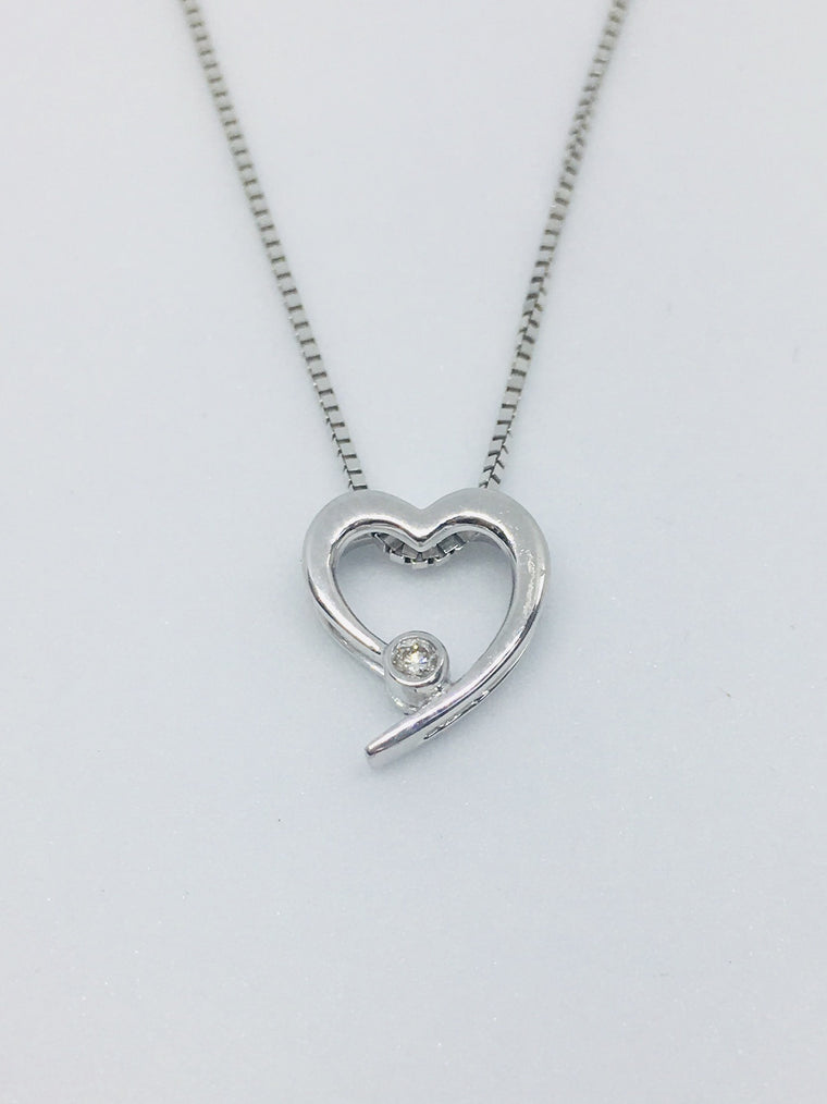 9ct White Gold Diamond Heart Necklace 0.02cts 30034