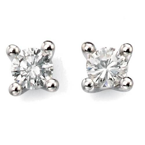 9ct Gold Diamond Solitaire Earrings