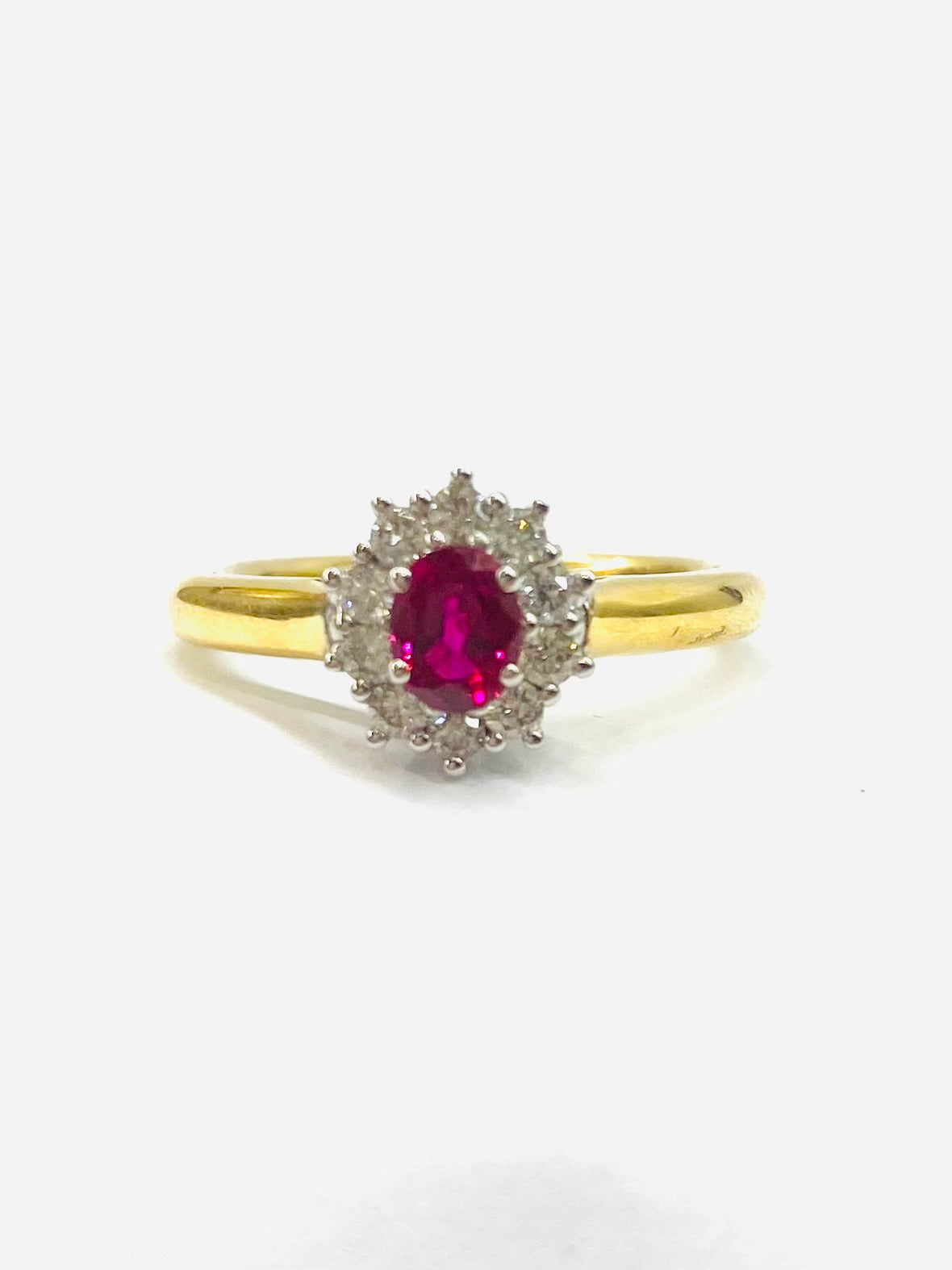 18ct Yellow Gold Ruby & Diamond Cluster Ring R.47 & D.25 2571/4